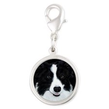 Border Collie Silver Round Charm