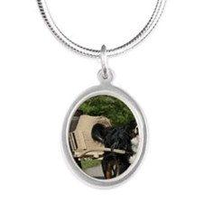 bernese_square Silver Oval Necklace