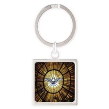 Dove Window at St Peters Basilica  Square Keychain