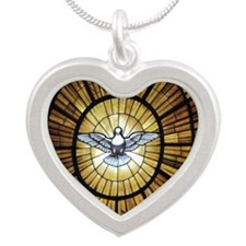 Dove Window at St Peters Bas Silver Heart Necklace