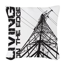 transmission tower edge 1 Woven Throw Pillow