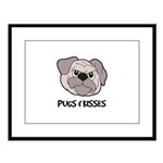 Pugs And Kisses Large Framed Print