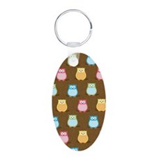 Colorful Owl Brown Trendy i Keychains