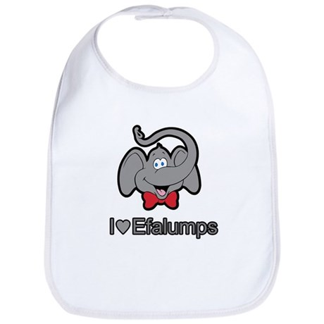 I Love Heart Efalumps Elephant Bib