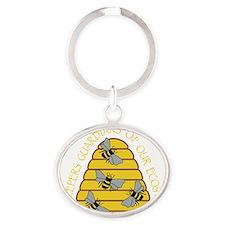 beekeepers dark Oval Keychain