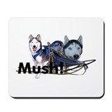 Siberian Husky Dog Sled Musher Mush! Mousepad