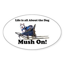 Siberian Husky Mush On! Oval Decal
