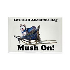 Siberian Husky Mush On! Rectangle Magnet (100 pack