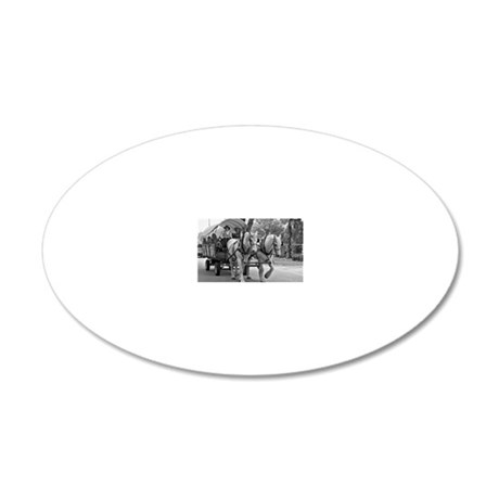 Horse and Wagon 20x12 Oval Wall Decal