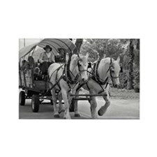 Horse and Wagon Rectangle Magnet