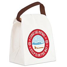 corgi-ski-patrol Canvas Lunch Bag