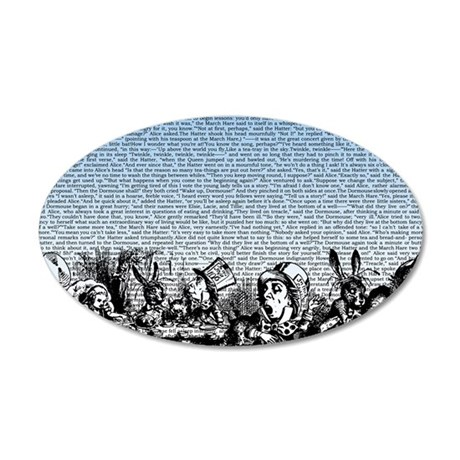 alice-vintage-border_blue_15 35x21 Oval Wall Decal