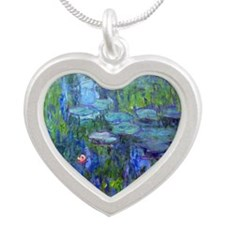 Pillow Monet WLilies Silver Heart Necklace