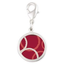 GeoCircles_Red_78 Silver Round Charm