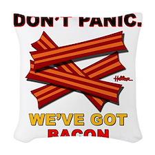 vcb-bacon-dontpanic2-2011 Woven Throw Pillow