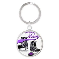 hockey_mom_purple Round Keychain