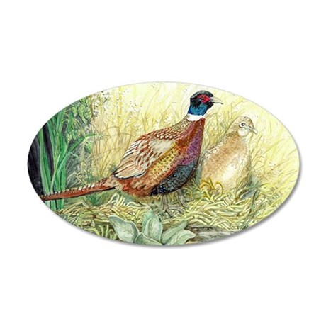 Pheasants Nesting 35x21 Oval Wall Decal