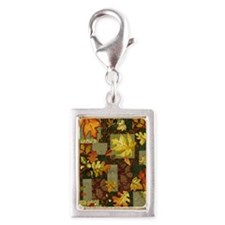 Autumn Patchwork Silver Portrait Charm