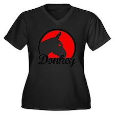 donkey2rw Women's Plus Size Dark V-Neck T-Shirt