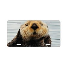 5x3oval_sticker_otter_5 Aluminum License Plate