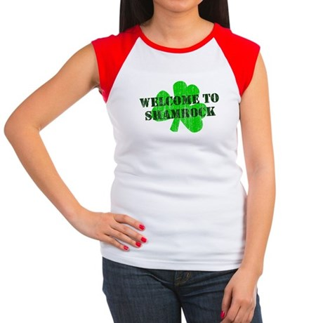 Welcome to Shamrock Womens Cap Sleeve T-Shirt