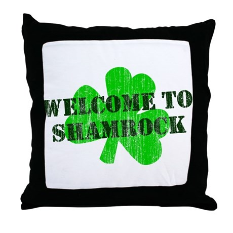 Welcome to Shamrock Throw Pillow