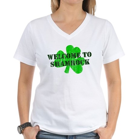 Welcome to Shamrock Womens V-Neck T-Shirt