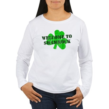 Welcome to Shamrock Womens Long Sleeve T-Shirt