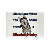 Siberian Husky Life is Good Rectangle Magnet (10 p