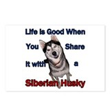 Siberian Husky Life is Good Postcards (Package of