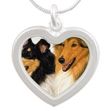 Rough Collie blanket Silver Heart Necklace