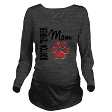 D Boston Terrier Mom Long Sleeve Maternity T-Shirt