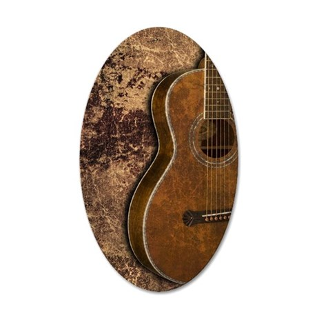 Acoustic guitar journal 35x21 Oval Wall Decal