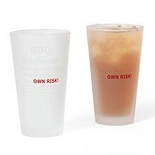 BBQ apron disclaimer white cp Drinking Glass