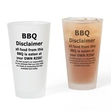 BBQ apron disclaimer black cp Drinking Glass