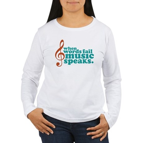 Teal Music Speaks Women's Long Sleeve T-Shirt