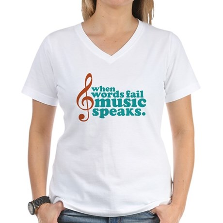 Teal Music Speaks Women's V-Neck T-Shirt