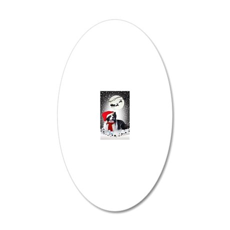 Border Collie Christmas Wish 20x12 Oval Wall Decal