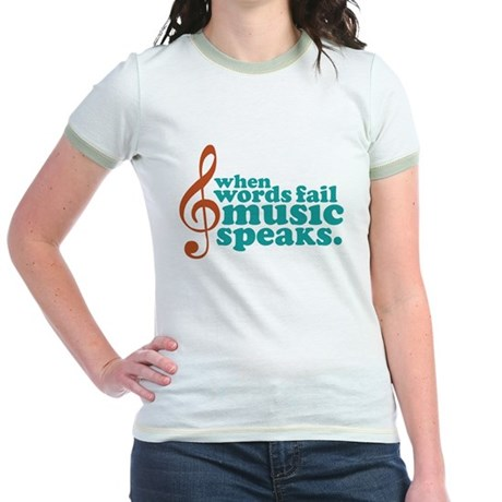 Teal Music Speaks Jr. Ringer T-Shirt