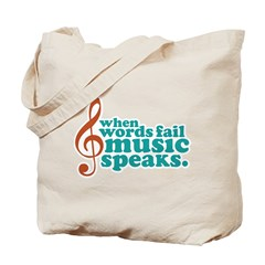 Teal Music Speaks Tote Bag