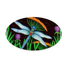 DRAGONFLY AT REST Oval Car Magnet