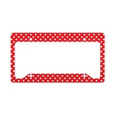 redpolkadotlaptopskin License Plate Holder