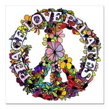 "peace love pilates with  Square Car Magnet 3"" x 3"""
