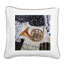 french-horn-ornament Square Canvas Pillow