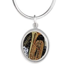 tuba-ornament Silver Oval Necklace