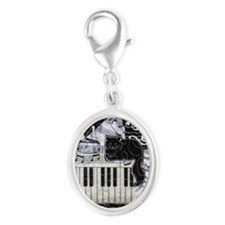 keyboard-sitting-cat-ornament Silver Oval Charm