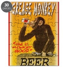 fine art america grease monkey beer poster Puzzle