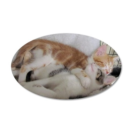 Davids Kittens-card 35x21 Oval Wall Decal