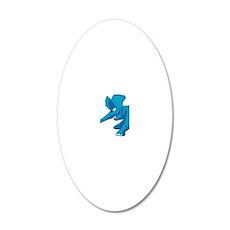 elephant_tug_keych_BlueB 20x12 Oval Wall Decal