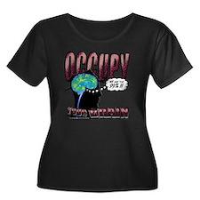 occupy Women's Plus Size Dark Scoop Neck T-Shirt